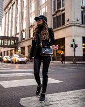 jacket,black blazer,black shoes,black leather,black bag,black turtleneck top,cap