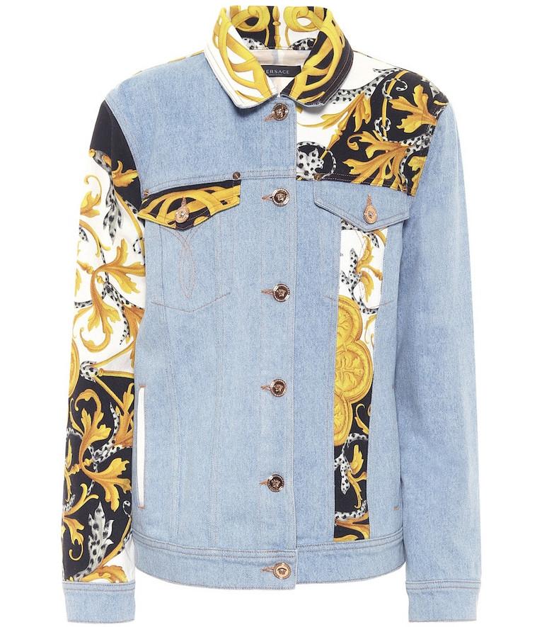 Versace Patchwork denim jacket in blue
