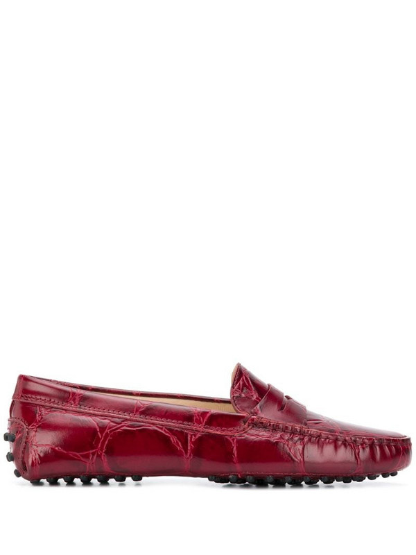 Tod's embossed Gommino loafers in red