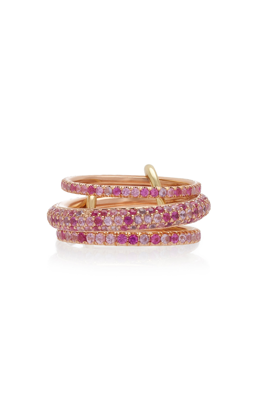 Spinelli Kilcollin Nova Rose Set-Of-Three 18K Rose Gold Sapphire Rings in pink