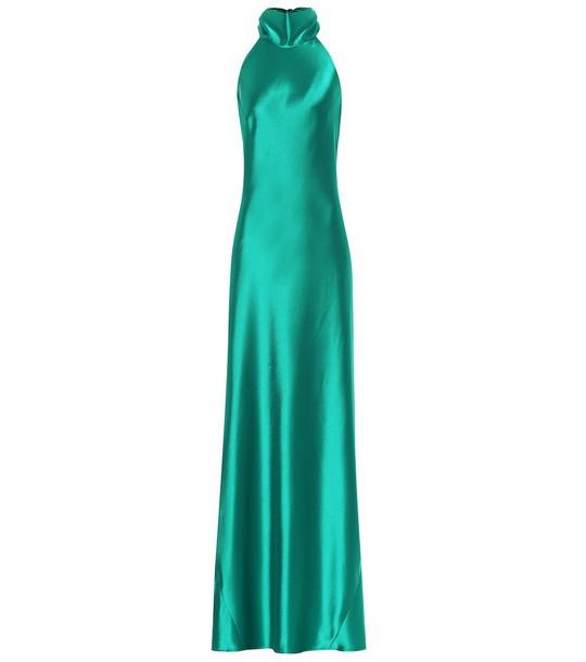 Galvan Sienna satin gown in green