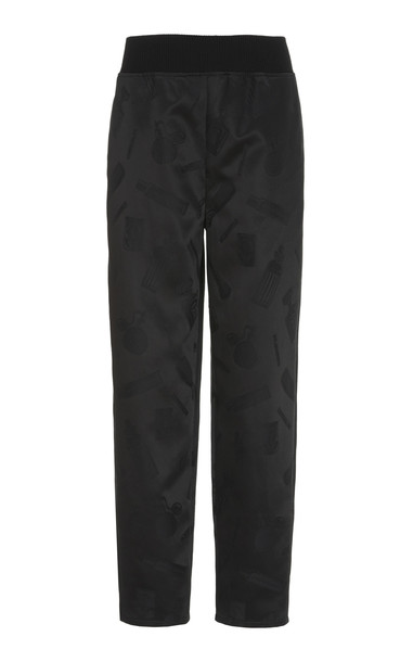 Brandon Maxwell Embossed-Satin Straight-Leg Track Suit Pants Size: XS in black