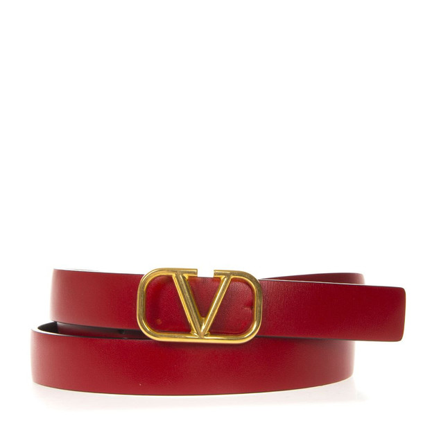 Valentino Garavani Red Leather Gold Metal Logo Belt