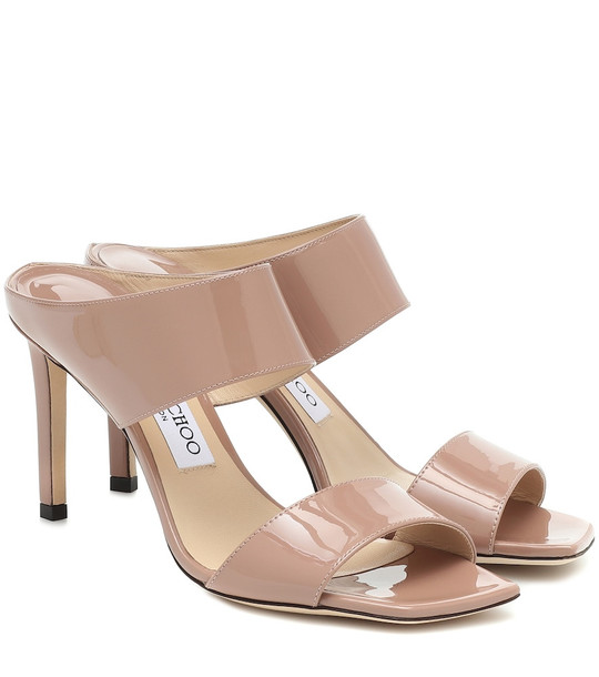 Jimmy Choo Hira 85 patent leather sandals in beige