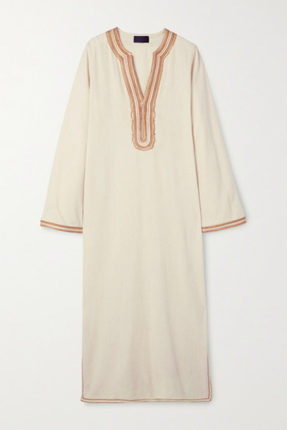 Nili Lotan - Honor Embroidered Silk-gauze Midi Dress - Beige