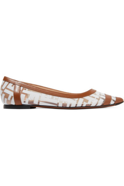 Fendi - Colibri Leather-trimmed Logo-print Pvc Point-toe Flats - Tan