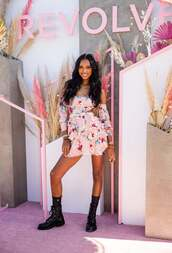 dress,baby pink,jasmine tookes,model off-duty,festival dress,festival,coachella