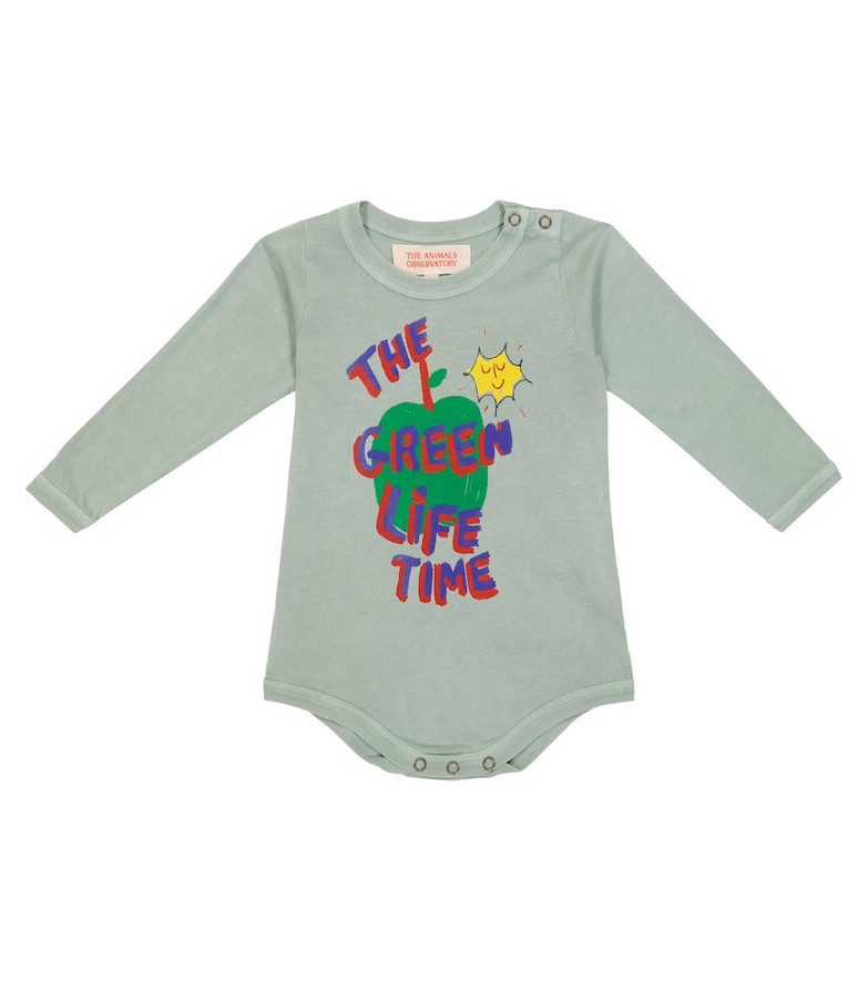The Animals Observatory Baby long-sleeved cotton bodysuit in green