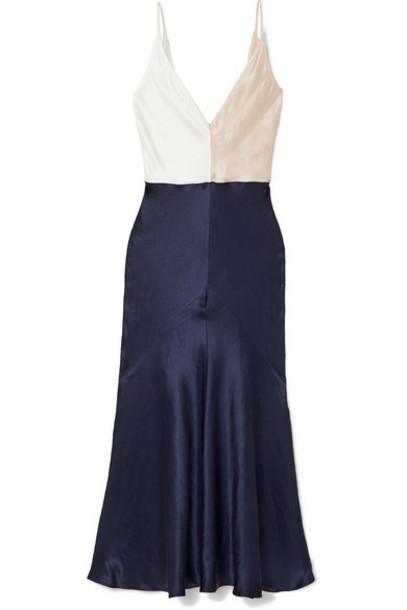 Gabriela Hearst - Bridget Color-block Linen And Silk-blend Satin Maxi Dress - Navy
