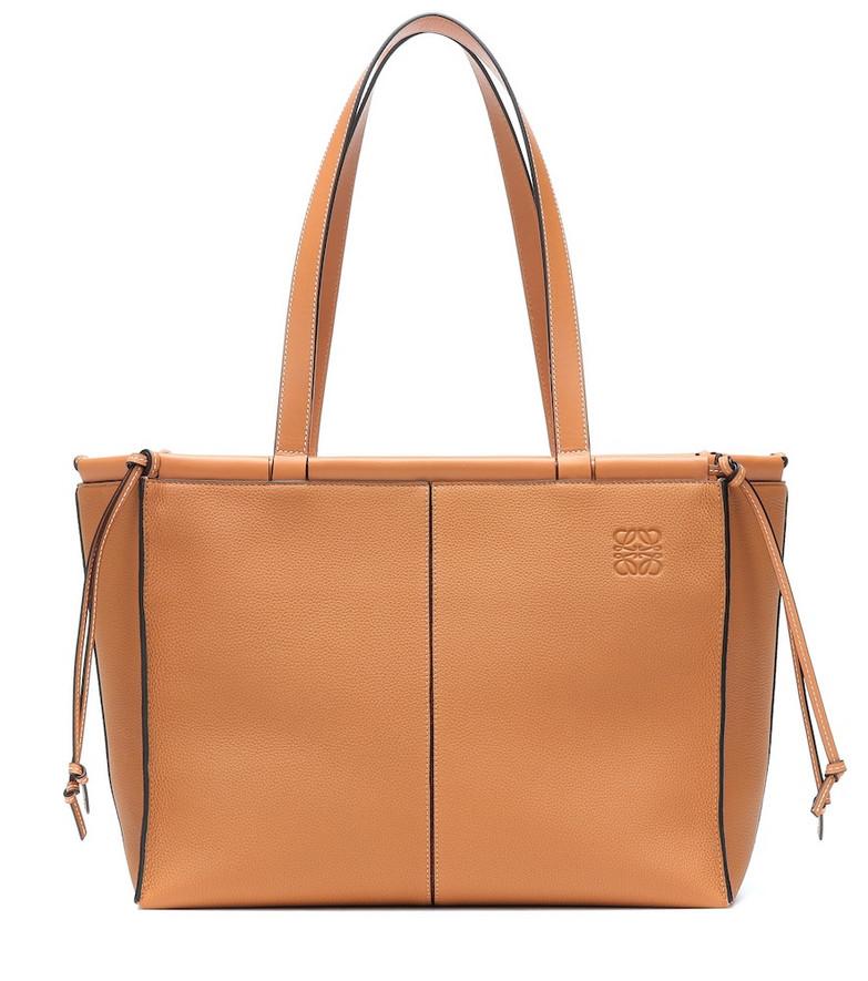 Loewe Cushion leather tote in brown