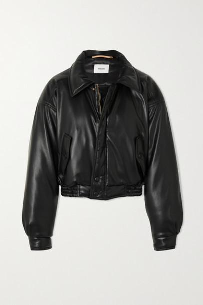 Nanushka - Bomi Vegan Leather Bomber Jacket - Black