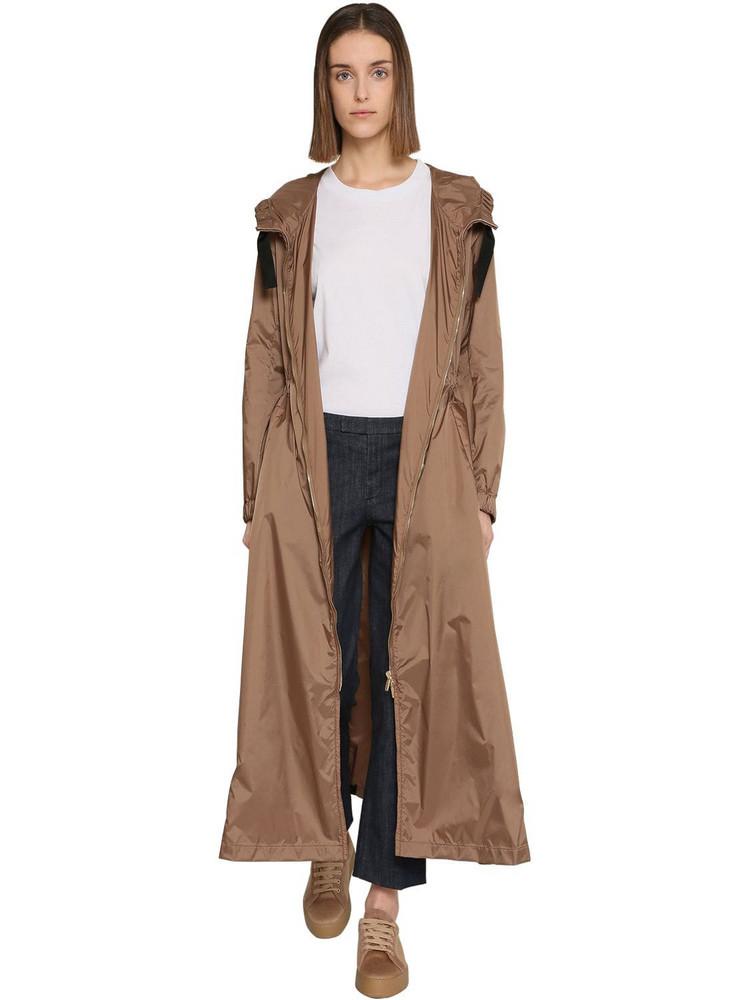 MAX MARA 'S Long Hooded Nylon Windbreaker in beige