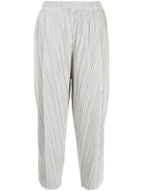 Pleats Please Issey Miyake plissé cropped trousers in grey