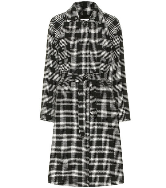 REDValentino Checked cotton-blend coat in black