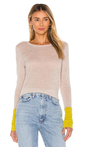 Autumn Cashmere Contrast Sleeve Crew Sweater in Beige