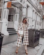 coat,long coat,plaid,double breasted,mango,pumps,high waisted pants,sweater,white bag,J.W.Anderson bag