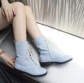 shoes,denim combat boots booties  work shoes