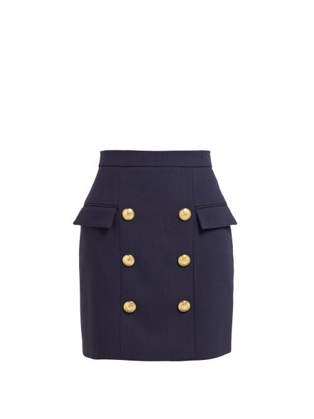 Balmain - Six Button Wool Skirt - Womens - Navy