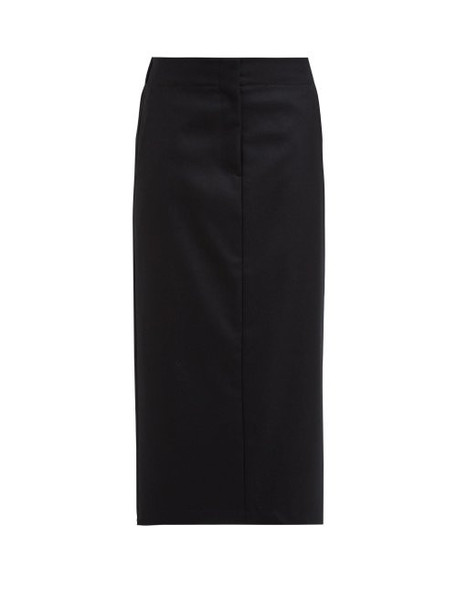 Raey - Elasticated Back Wool Midi Skirt - Womens - Black