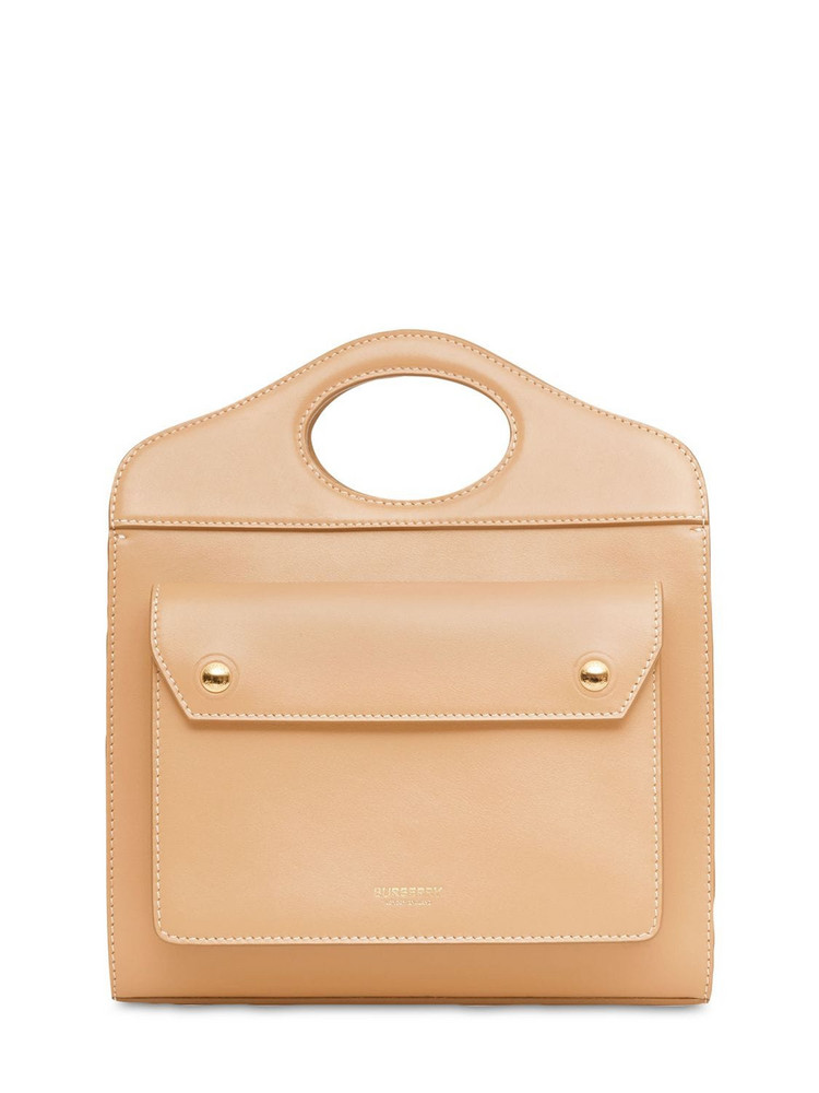 BURBERRY Mini Pocket Leather Tote Bag in sand