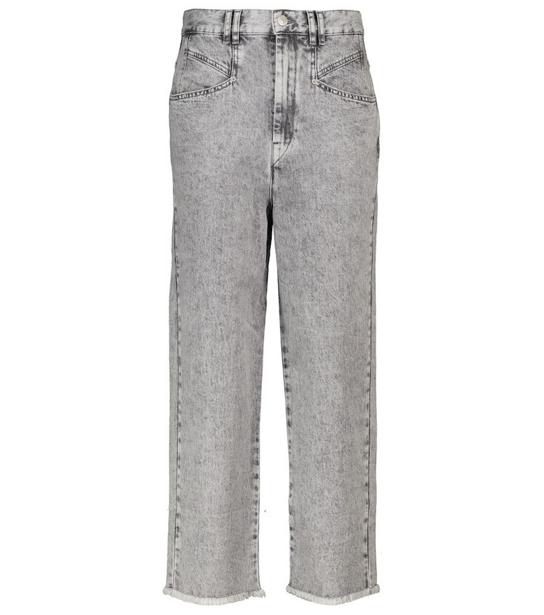 Isabel Marant Dilali high-rise straight cropped jeans in grey