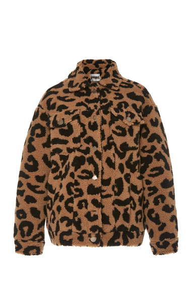 Apparis Tiarra Collared Leopard-Print Faux Shearling Jacket Size: S