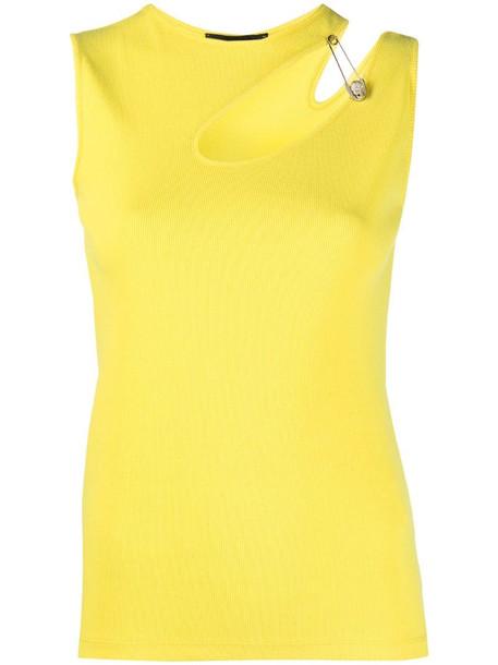 Philipp Plein cutout safety pin T-shirt in yellow