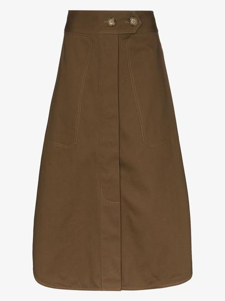 Lee Mathews drill cotton midi skirt in green