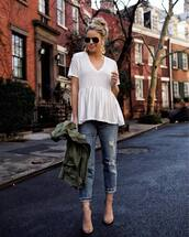 top,white top,high heel sandals,boyfriend jeans,ripped jeans,army green jacket,earrings,sunglasses,streetstyle,casual