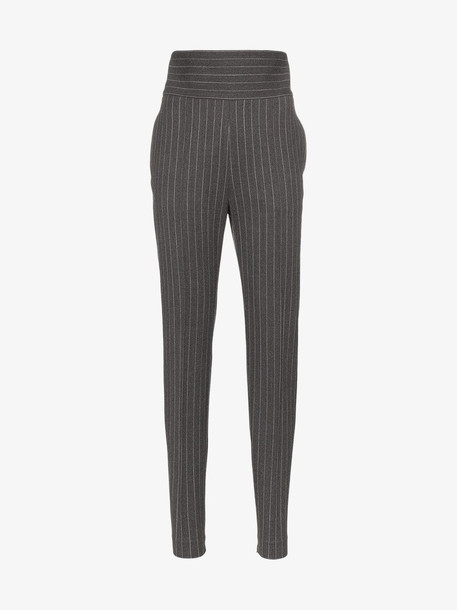 Alexandre Vauthier high-waisted pinstripe trousers in grey