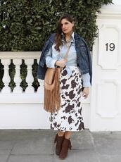 fashion foie gras,blogger,skirt,jacket,cow print,fringed bag,spring outfits,country style,ankle boots,denim jacket