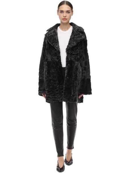 DROME Reversible Shearling Coat in black