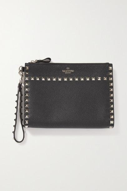 Valentino - Valentino Garavani Rockstud Textured-leather Pouch - Black