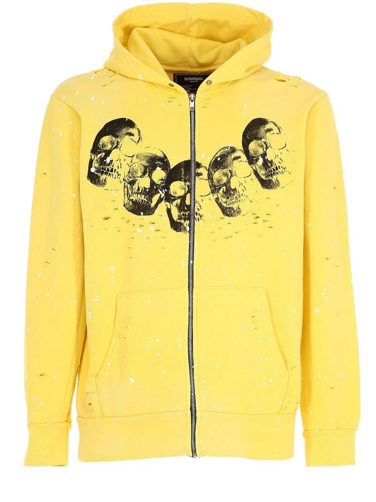 DOMREBEL Amigos Zip-up Sweatshirt Hoodie in yellow