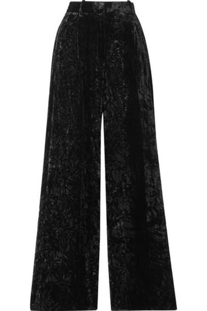 Racil - Peter Crushed-velvet Wide-leg Pants - Black