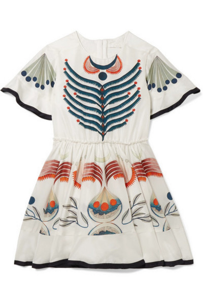 Chloé Kids - Ages 6 - 12 Printed Silk Crepe De Chine Dress in white