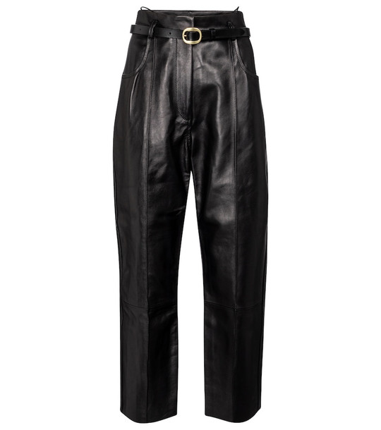 Petar Petrov Pollis B belted high-rise leather pants in black