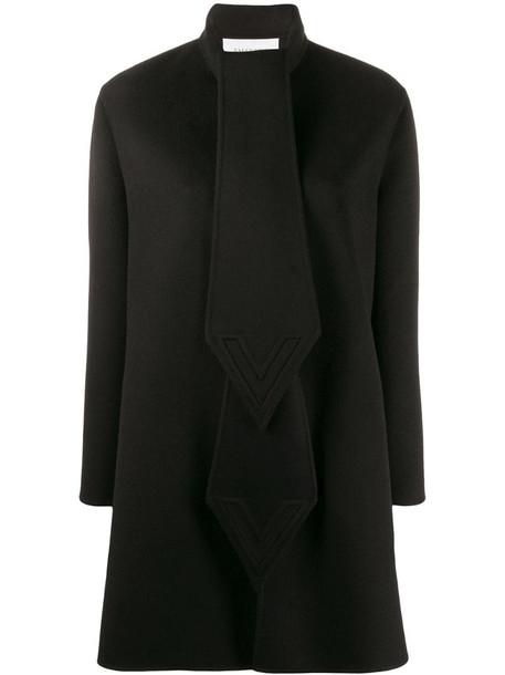 Valentino intarsia cape-style coat in black