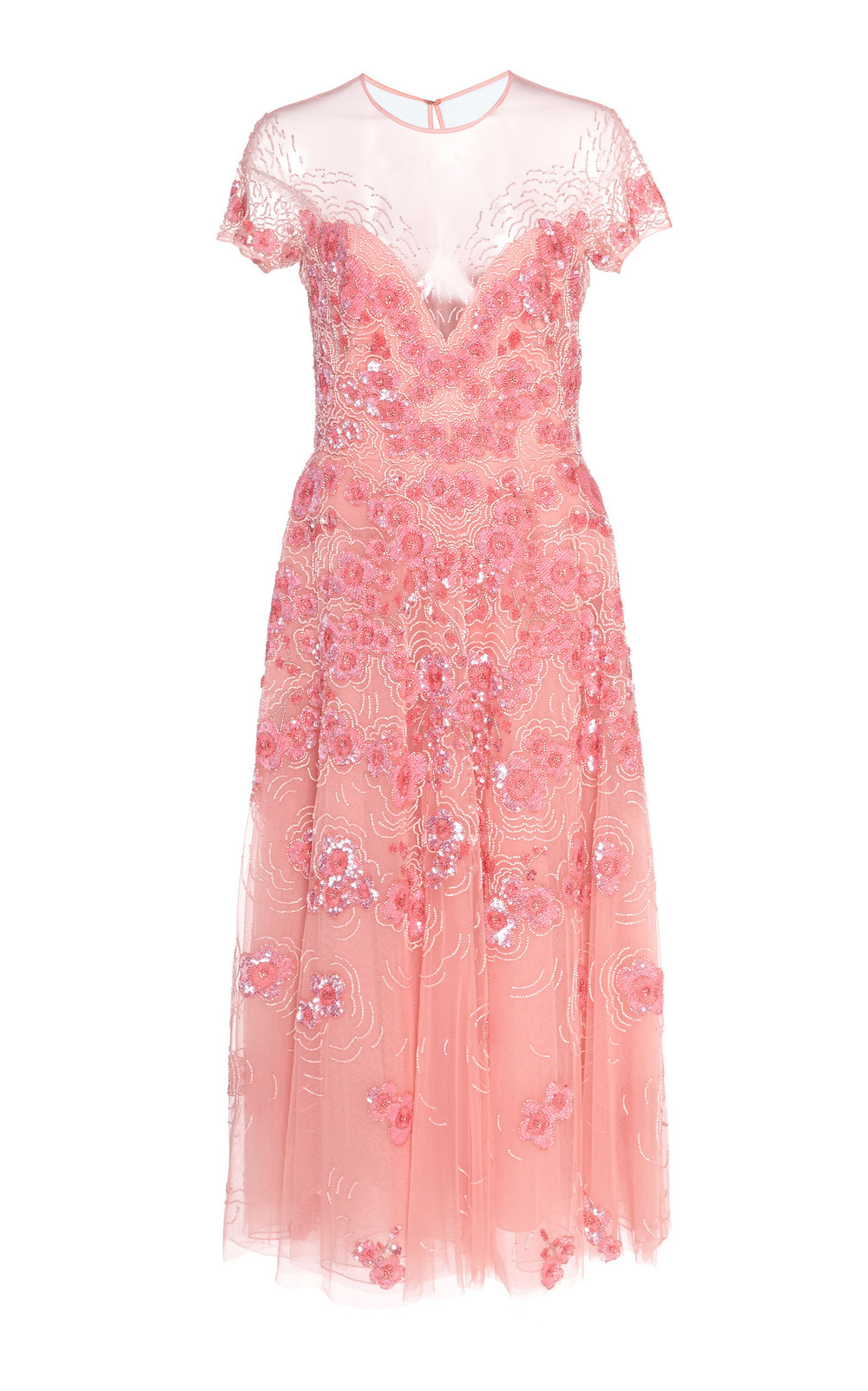 Zuhair Murad Sequined Silk-Blend Tulle Midi Dress in pink