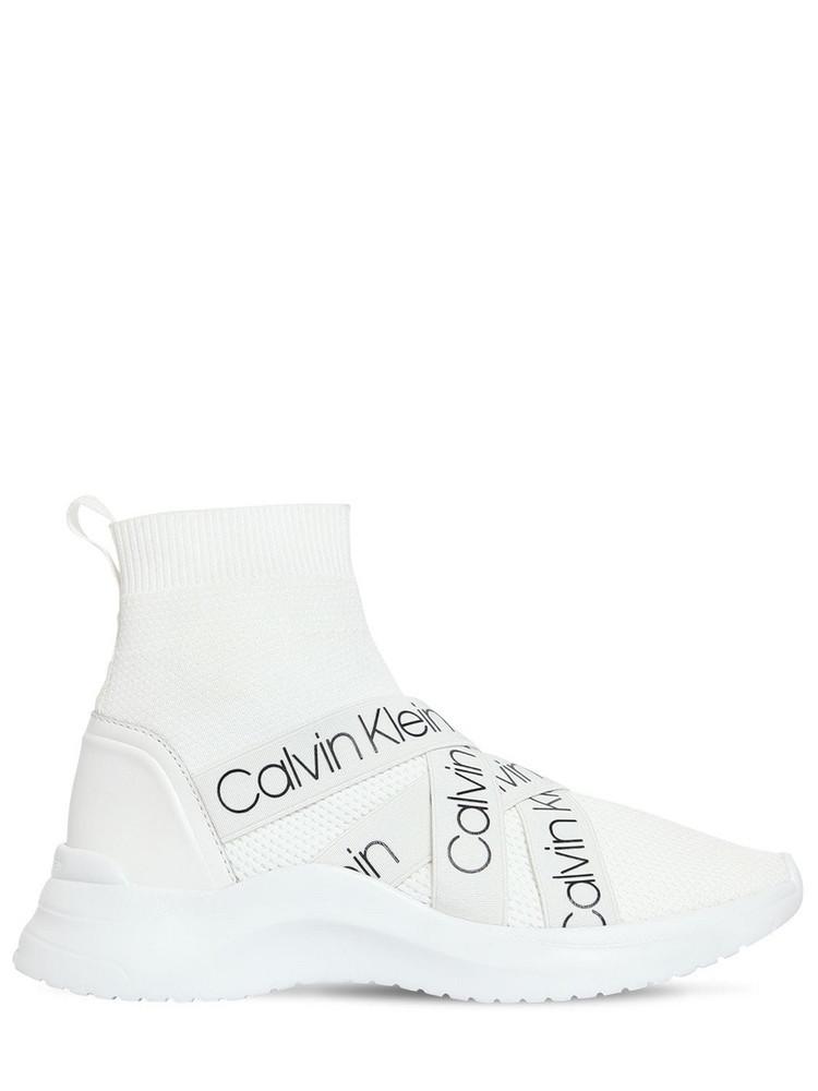 CALVIN KLEIN JEANS 30mm Umney Knit Sock Sneakers in white