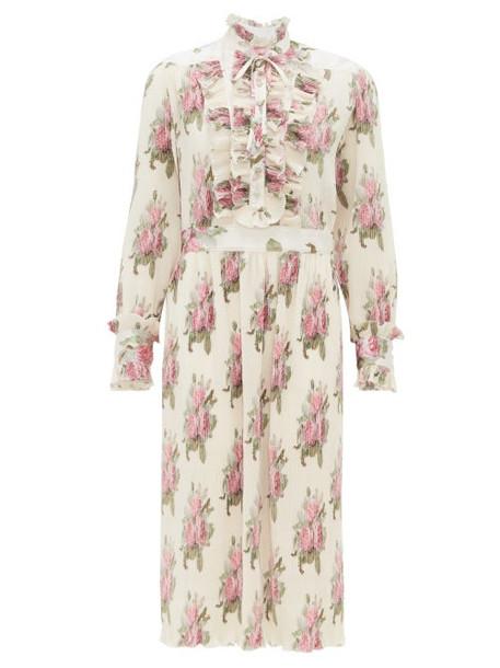 Paco Rabanne - Ruffled Floral-print Plissé Midi Dress - Womens - White Multi