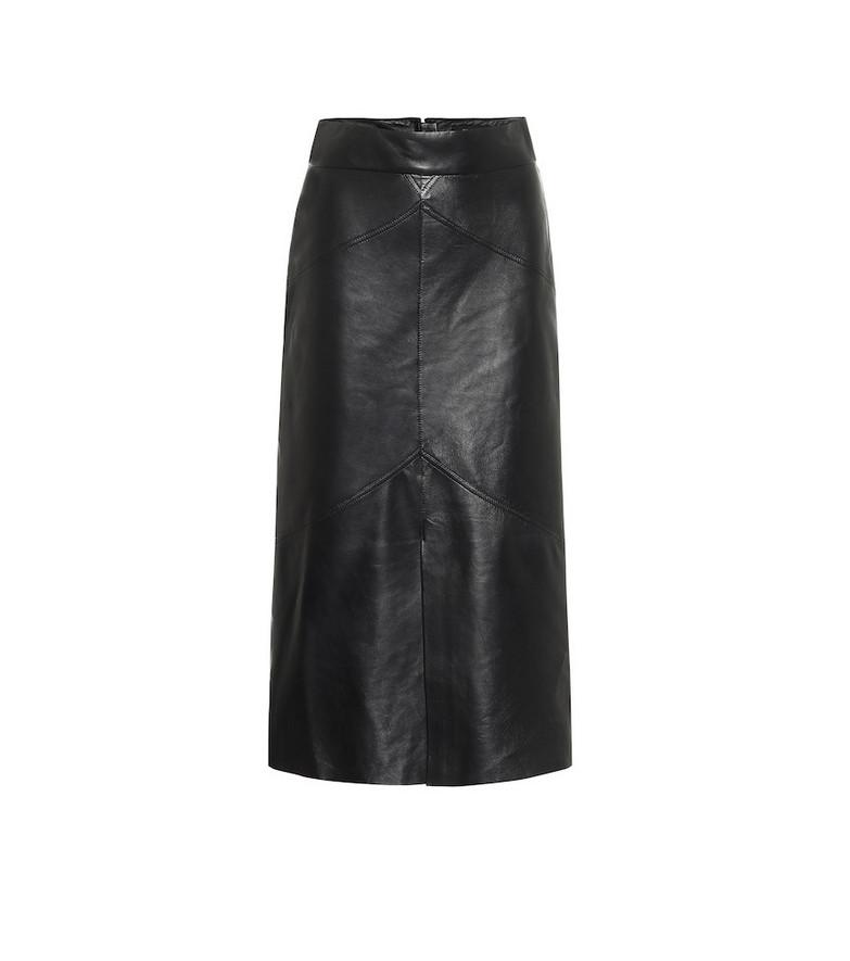 Isabel Marant Xomi leather midi skirt in black