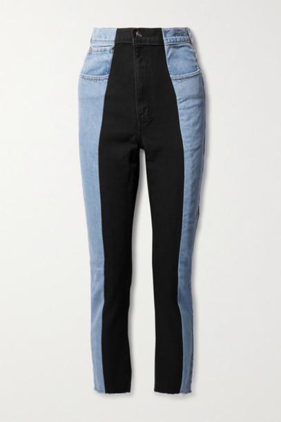 E.L.V. Denim - Net Sustain The Twin Frayed Two-tone High-rise Straight-leg Jeans - Light denim