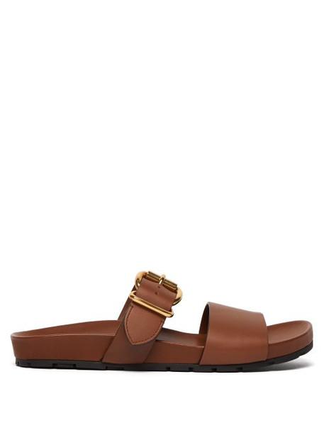 Prada - Buckled Leather Slides - Womens - Tan