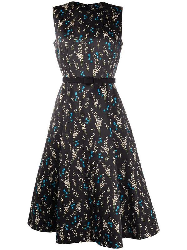Erdem floral-print silk dress in black