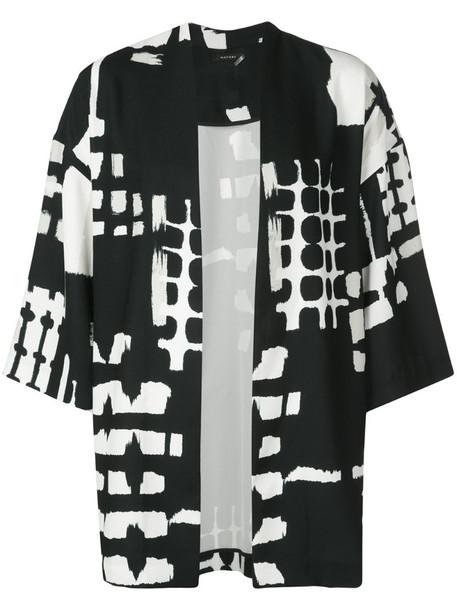 Natori digital print belted coat in black