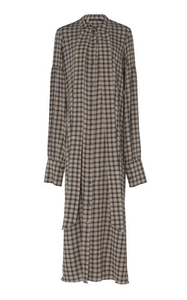 Rokh Oversized Silk Houndstooth Dress Size: 40 in grey