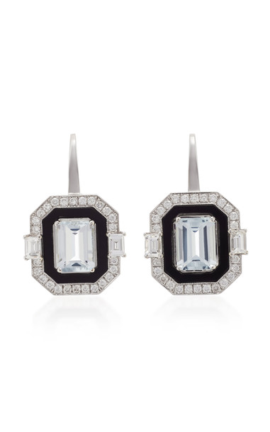Melis Goral 18K White Gold And Multi-Stone Earrings in blue
