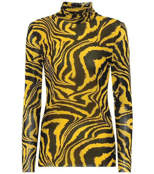 Ganni Exclusive to Mytheresa – Animal-print turtleneck top in yellow