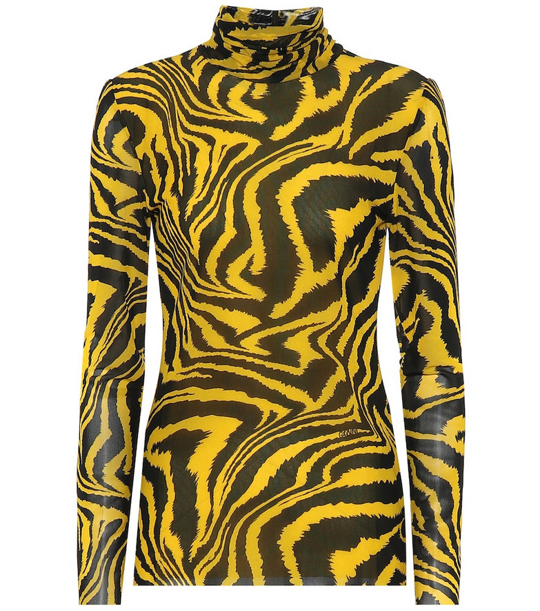 Ganni Exclusive to Mytheresa – Animal-print turtleneck top in yellow